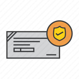 banking, check, cheque, payment, protection, secure, shield icon