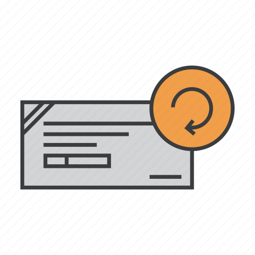 banking, check, cheque, details, modify, renew, update icon