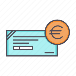 banking, cheque, euro, financial, instrument icon