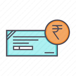 banking, cheque, financial, instrument, rupee icon