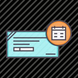 banking, cheque, financial, instrument, schedule icon