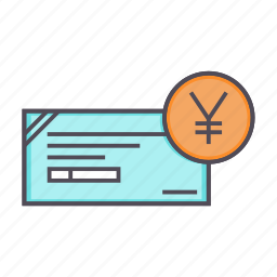 banking, cheque, financial, instrument, yen icon