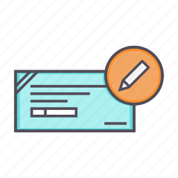 banking, cheque, details, edit, financial, instrument icon