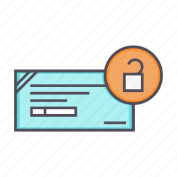 banking, cheque, financial, instrument, release icon
