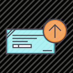 banking, cheque, deposit, financial, instrument, send icon