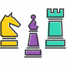 bishop, chess, game, knight, piece, pieces, rook icon