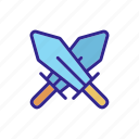 chess, game, outline, queen, strategy, swords, two icon