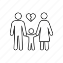 breakup, child, conflict, custody, divorce, marriage, parents icon