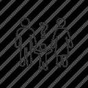 child, confused, custody, evaluation, family, parents, problem icon