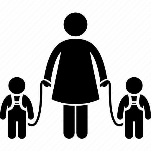 child, kids, leash, protection, safety, security, twins icon