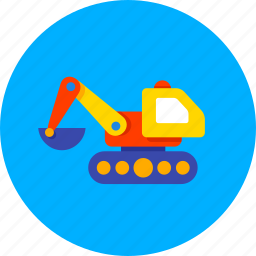 baby, bulldozer, construction, excavator, kids, machine, toy icon