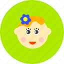 female, girl, hairflower, kid, lady, profile, toy icon