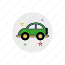 automobile, car, cartoon, childhood, minicar, toy, vehicle icon
