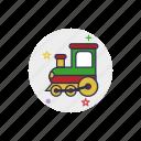 childhood, locomotive, railroad, railway, toy, train, transport icon
