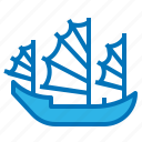 boat, china, chinese, junk, ship icon