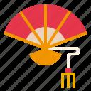 antique, blow, china, fan, travel