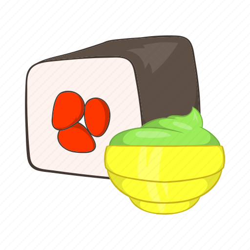 cartoon, food, rice, roll, seafood, sushi, wasabi icon