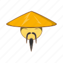 asian, cartoon, china, chinese, hat, man, traditional icon