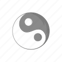 balance, cartoon, harmony, religion, sign, yang, yin icon