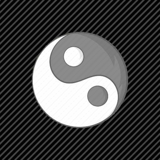 balance, cartoon, harmony, religion, sign, yang, yin icon