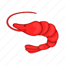 cartoon, fish, gourmet, meal, prawn, red, shrimp icon