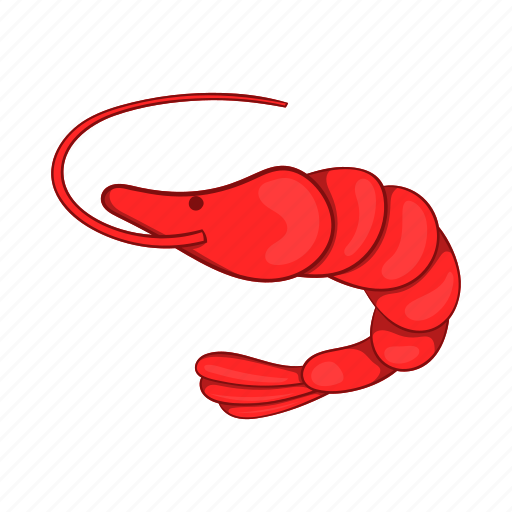 cartoon, fish, gourmet, meal, prawn, red, shrimp icon