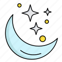 moon, night, space, star, weather icon