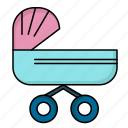 baby, kids, push, stroller, trolly icon