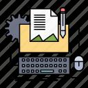 type, computer, writer, paper, keyboard