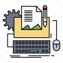 computer, keyboard, paper, type, writer icon