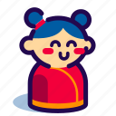 chinese, chinese new year, chinese new year icon, girl