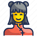 asian, chinese, female, people, person, user, woman icon