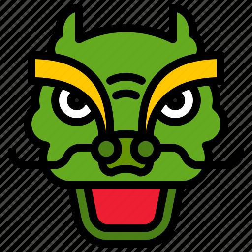 china, dragon, dragon dance, face, head icon
