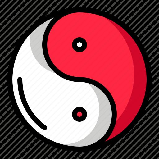 china, chinese new year, taoism, yin yang icon