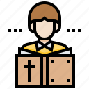 bible, priest, read, saint, scripture, textbook icon
