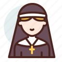 christian, nun, religion icon
