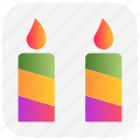 candles, christmas, decoration, light, xmas icon