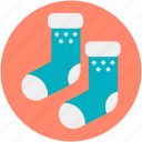 christmas accessories, christmas socks, christmas stocking, fur stocking, stocking fillers icon