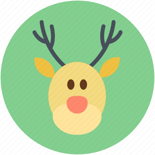 animal head, christmas reindeer, deer head, elk, reindeer head icon