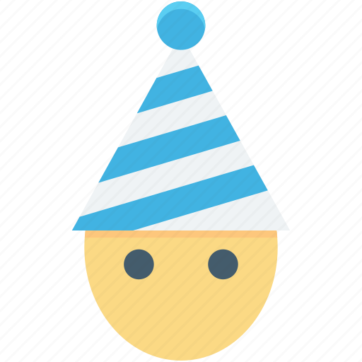 cartoon face, character, christmas elf, elf, party hat icon