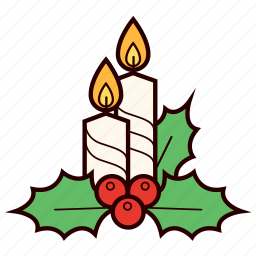 berries, candle, christmas, decoration, holly icon
