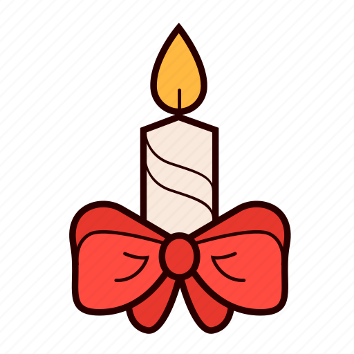 bow, candle, christmas, decoration, holiday icon