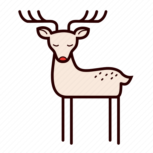 cartoon, deer, reindeer, rudolf, stag icon