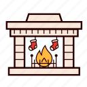 christmas, decoration, fire, fireplace, holiday, stocking, winter icon