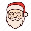 beard, christmas, glasses, happy, hat, santa, santa claus icon