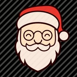beard, christmas, glasses, happy, hat, santa, santa claus icon