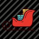 christmas, gift, present, santa, santa's sled, sled, snow icon