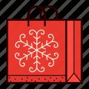 bag, christmas, gift, present, shopping, snowflake