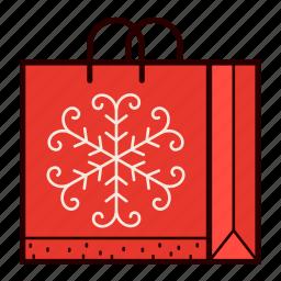 bag, christmas, gift, present, shopping, snowflake icon