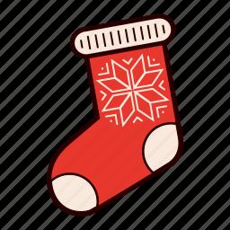 christmas, christmas stock, decoration, gift, present, snowflake, stocking icon